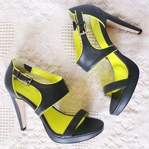 Gray + neon yellow Calvin Klein Leahanna heels